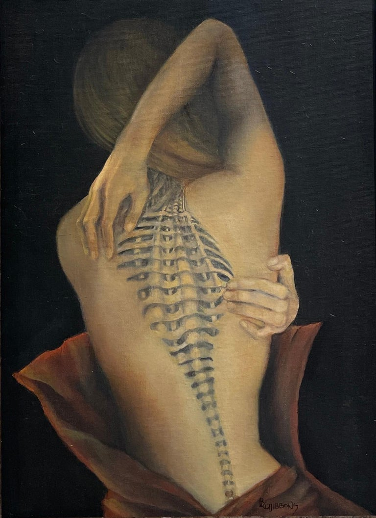 Trompe L'Oeil, Female Nude with Intricate Tattoo of the Spinal Column, Framed - Contemporary Painting by Richard Gibbons