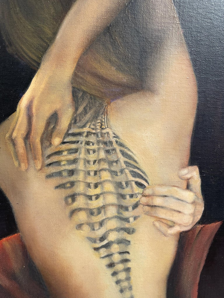 Trompe L'Oeil, Female Nude with Intricate Tattoo of the Spinal Column, Framed - Black Figurative Painting by Richard Gibbons
