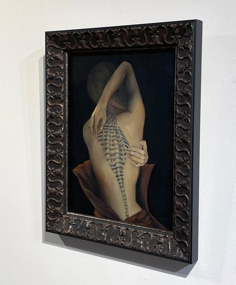 Trompe L'Oeil, Female Nude with Intricate Tattoo of the Spinal Column, Framed For Sale 2