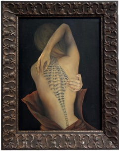 Trompe L'Oeil, Female Nude with Intricate Tattoo of the Spinal Column, Framed