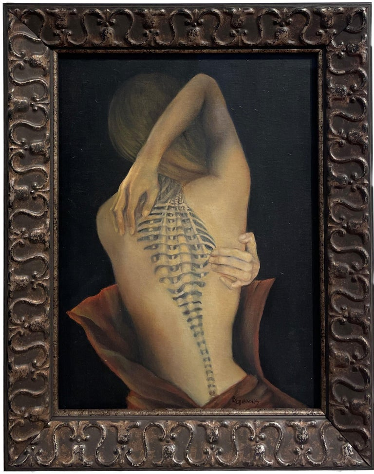 Richard Gibbons Figurative Painting - Trompe L'Oeil, Female Nude with Intricate Tattoo of the Spinal Column, Framed