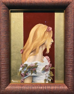 Victoria, Blond Haired Female Dressed in White Tunic with Purple Flowers, Framed