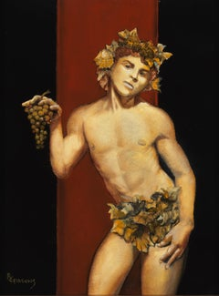 Young Bacchus - Partially Nude Male on Burgundy and Black Background