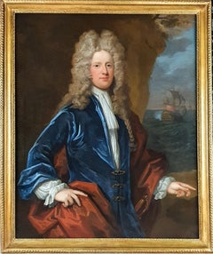 Portrait of Captain James Moneypenny (1670-1721) Antique oil on canvas painting
