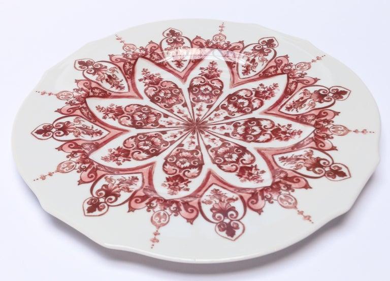Italian Richard Ginori Babele Rosso Red Dessert Plate For Sale