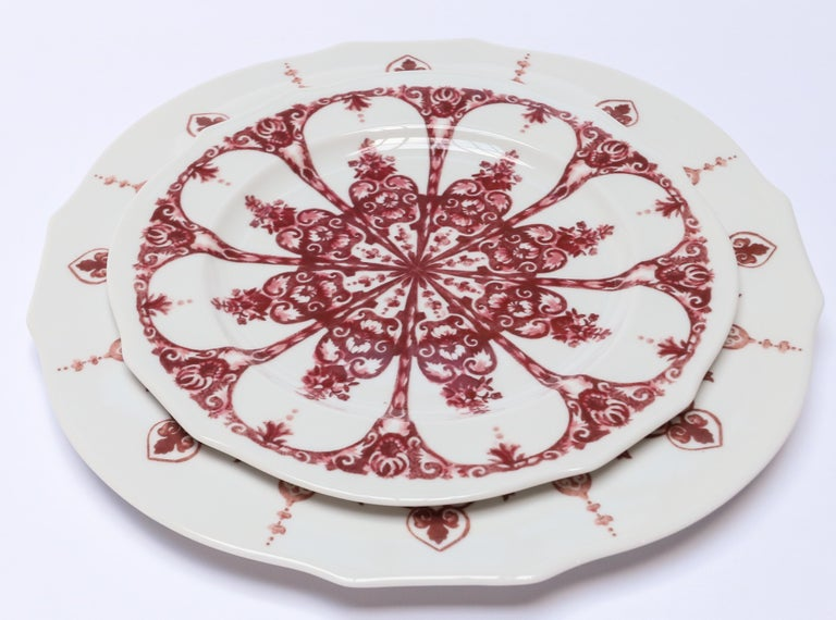 Contemporary Richard Ginori Babele Rosso Red Dessert Plate For Sale