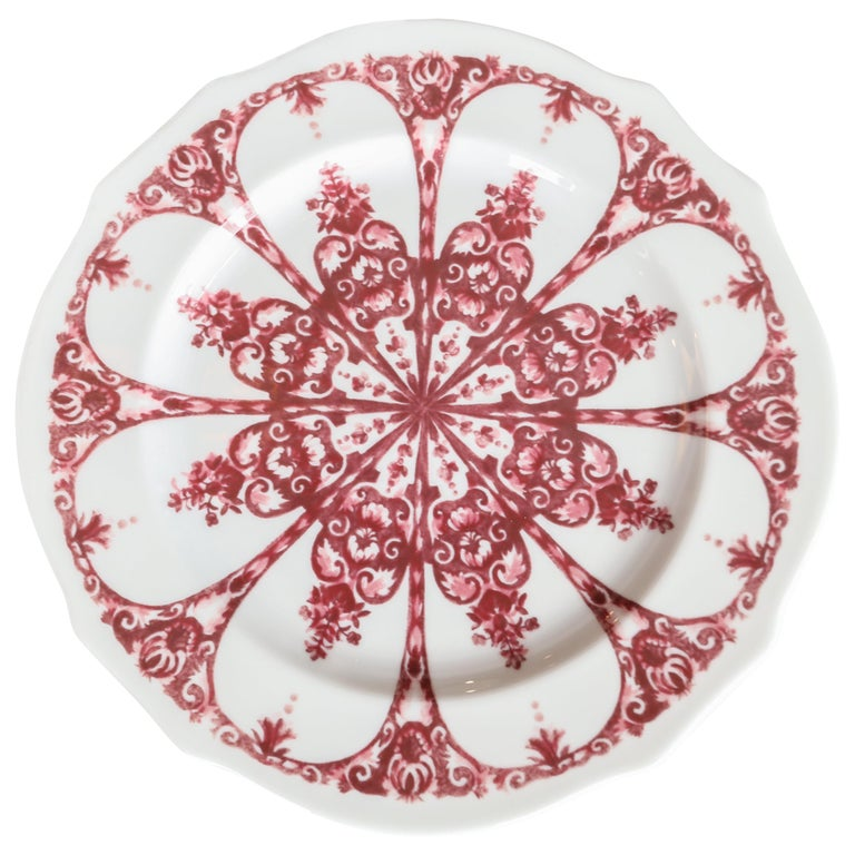 Richard Ginori Babele Rosso Red Dessert Plate For Sale