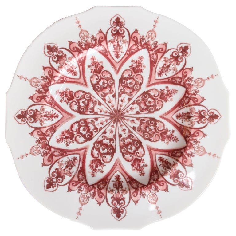 Richard Ginori Babele Rosso Red Dinner Plate For Sale
