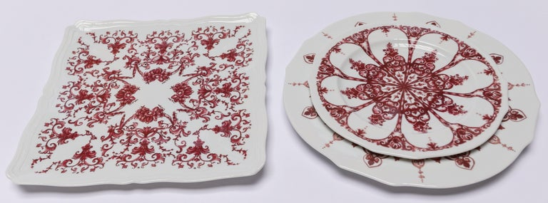 Italian Richard Ginori Babele Rosso Red Squared Flat Plate For Sale