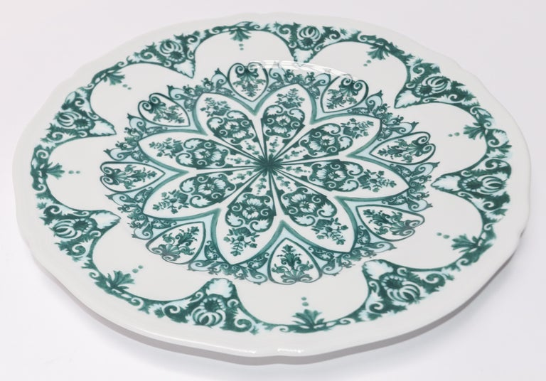 Richard Ginori babele verde green charger plate in the Antico Doccia shape 31cm in diameter. Can be order in various colors. Limited amount of green available, since it has been discontinued.