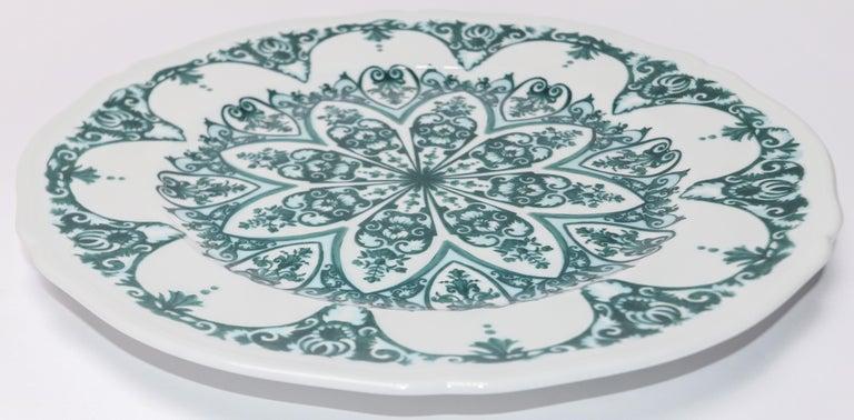Italian Richard Ginori Babele Verde Green Charger Plate For Sale