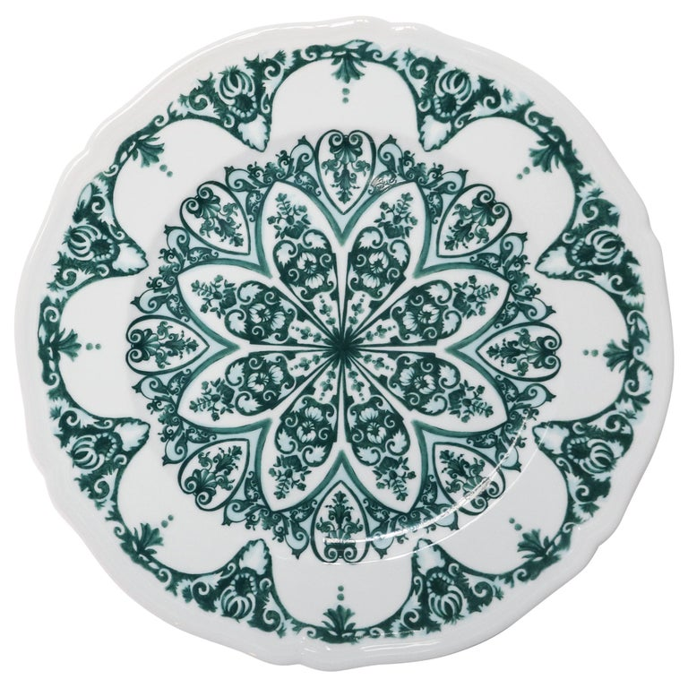 Richard Ginori Babele Verde Green Charger Plate For Sale