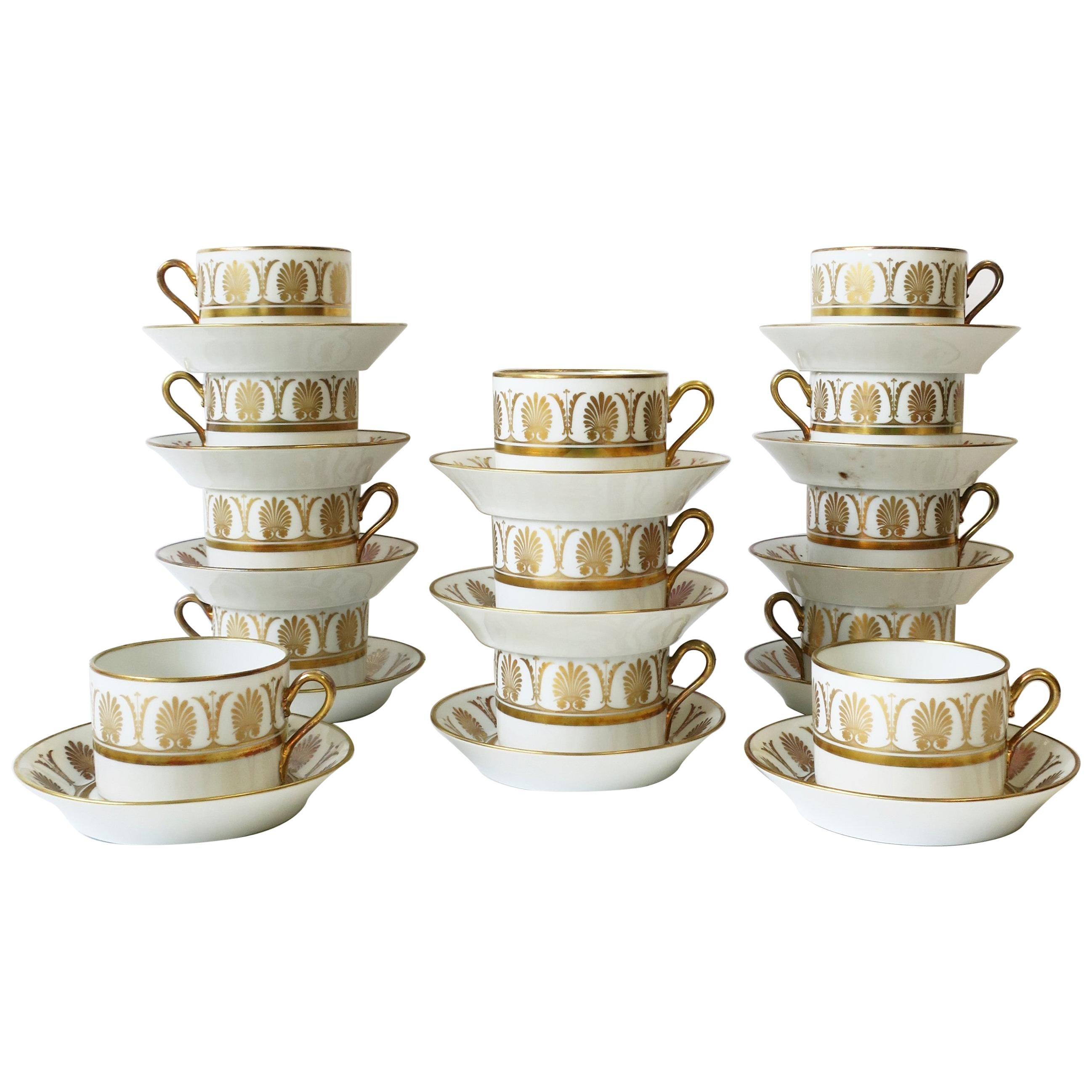 Richard Ginori Designer Italian White & Gold Coffee or Tea Cup Saucer, Set of 12