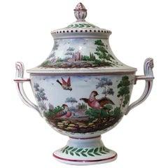 Richard Ginori Doccia 19th Century Porcelain Covered Vase with Landscape