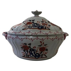 Richard Ginori Doccia Mid-18th Century Porcelain Soup Bowl  in Red Blue Decor