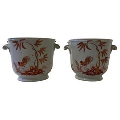 Richard Ginori Early 19th Century Pair of Orange Birds Cache Pots