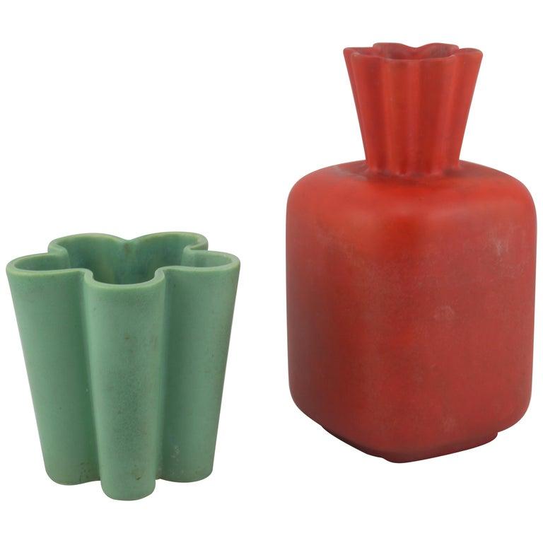 Richard Ginori for San Cristoforo Set of Two Vases by Giovanni Gariboldi, 1940s For Sale