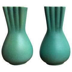 Richard Ginori Giovanni Gariboldi Couple Green Vase Ceramic, 1950, Italy