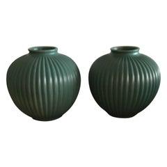 Richard Ginori Giovanni Gariboldi Couple Vase Green Ceramic 1950 Italy