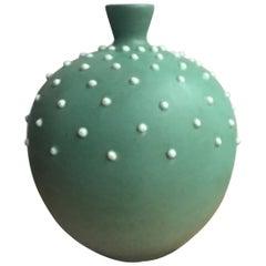 """Richard Ginori Giovanni Gariboldi """"Mina"""" Vase Green Ceramic, 1950, Italy"""