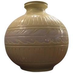 Richard Ginori Giovanni Gariboldi Vase Yellow White Ceramic, 1945, Italy