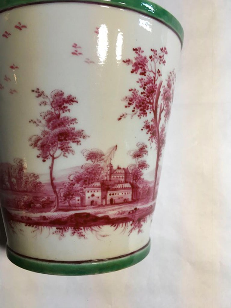 Richard Ginori Mid-18th Century Porcelain Cachepot with Landscape Painting For Sale 4