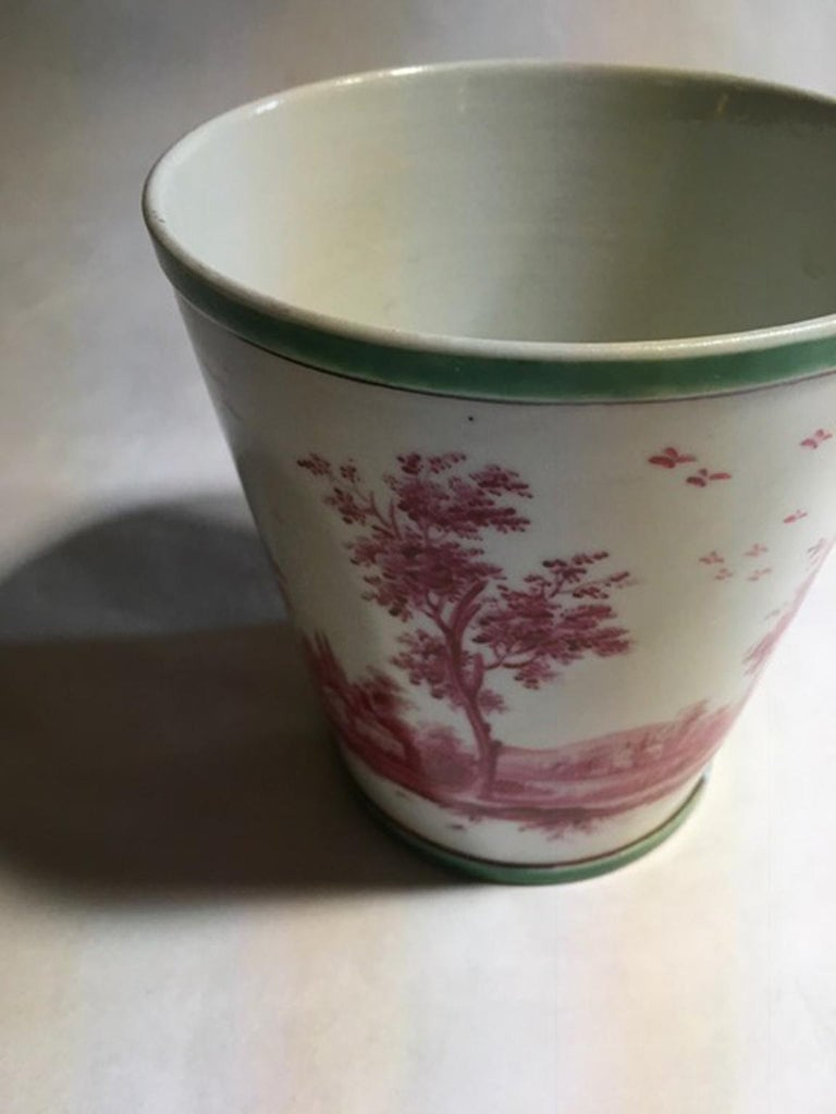 Richard Ginori Mid-18th Century Porcelain Cachepot with Landscape Painting For Sale 7