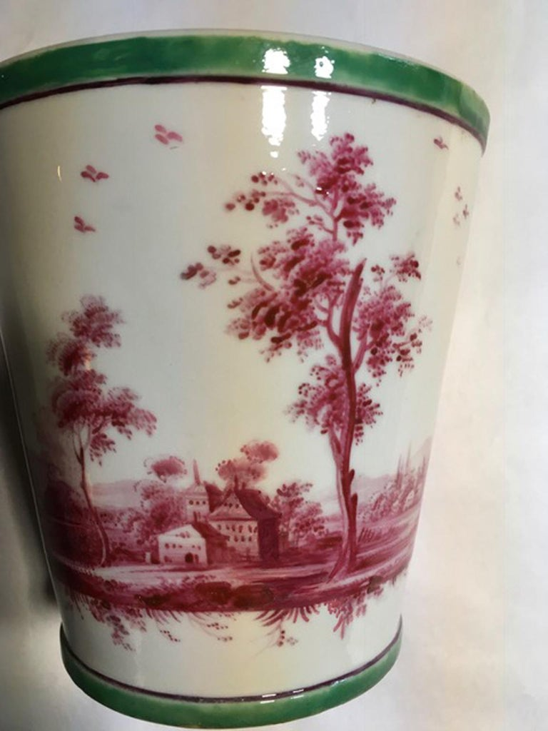 Richard Ginori Mid-18th Century Porcelain Cachepot with Landscape Painting For Sale 8