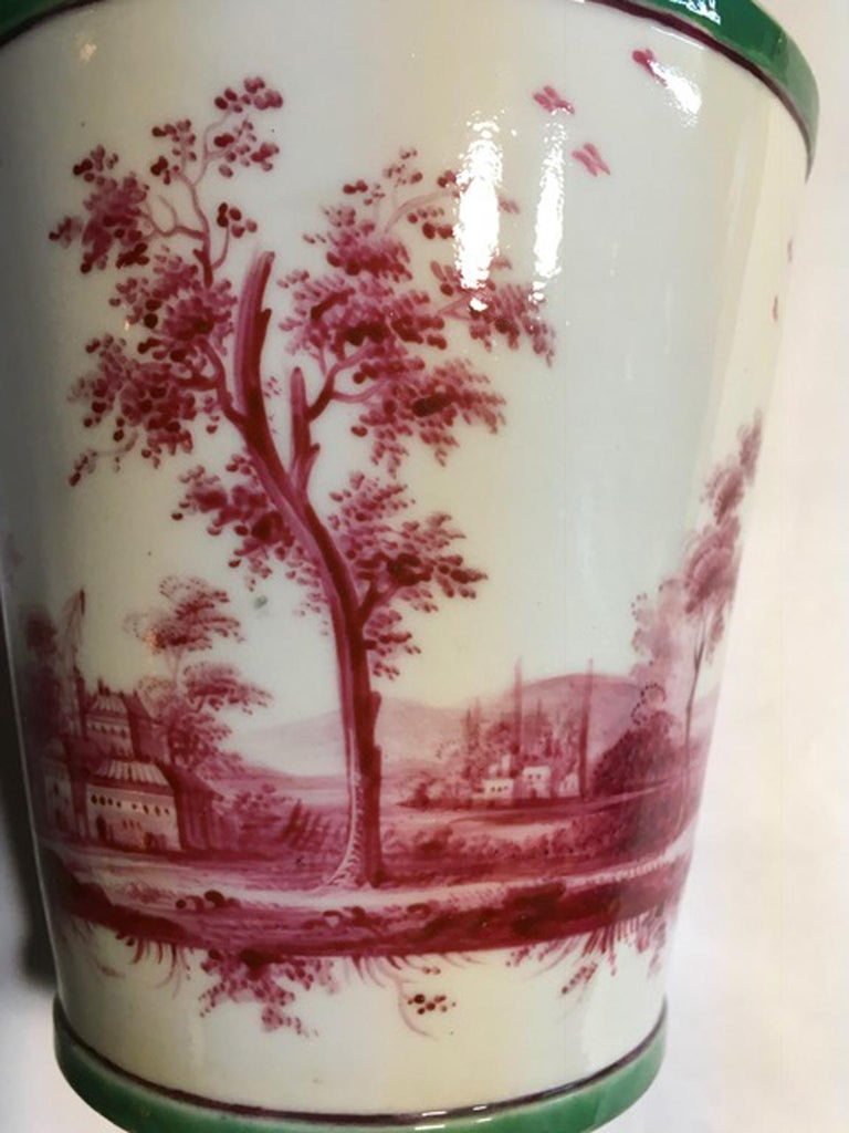 Richard Ginori Mid-18th Century Porcelain Cachepot with Landscape Painting For Sale 9