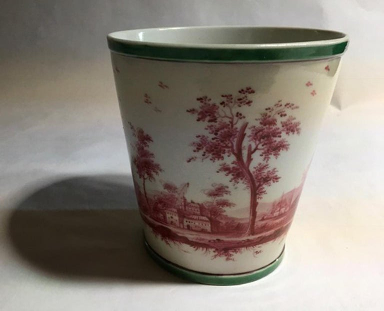 Richard Ginori Mid-18th Century Porcelain Cachepot with Landscape Painting For Sale 11