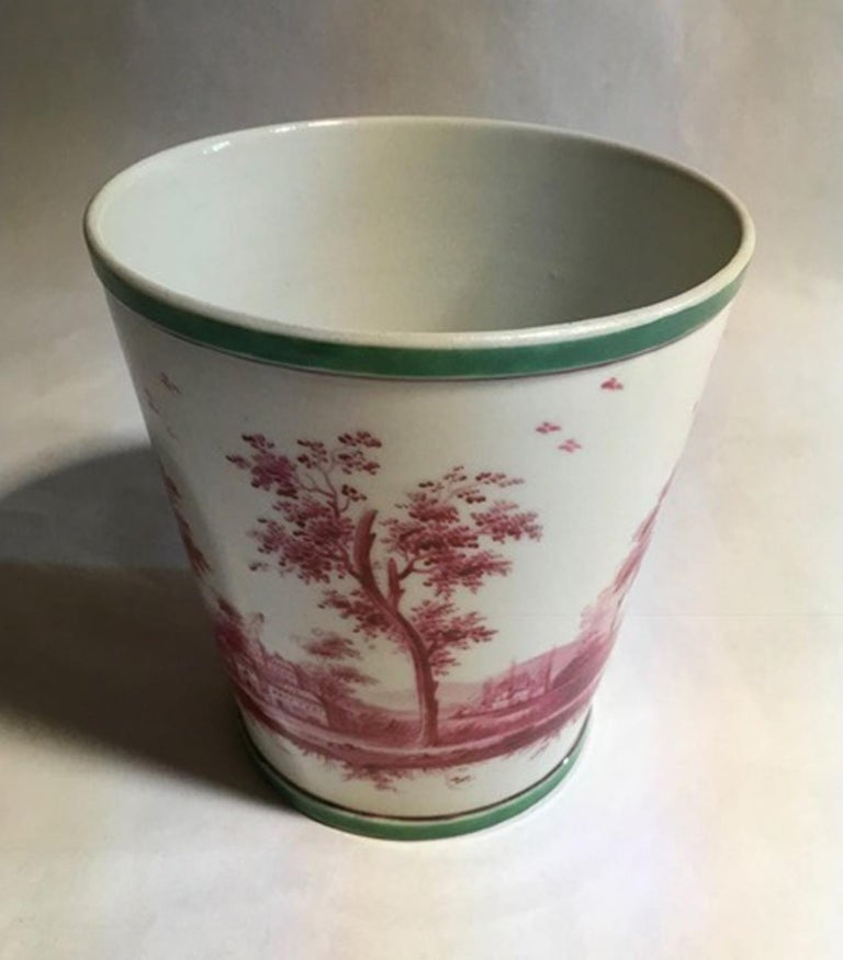 Baroque Richard Ginori Mid-18th Century Porcelain Cachepot with Landscape Painting For Sale