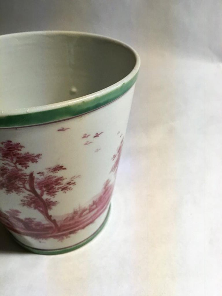 Richard Ginori Mid-18th Century Porcelain Cachepot with Landscape Painting In Good Condition For Sale In Brescia, IT