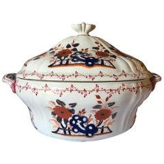 Richard Ginori Mid-18th Century Porcelain Soup Bowl Red and Blue Corean Decor