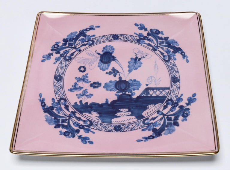 Richard Ginori Oriente Italiano Azaelea Pink Vide Poche Squared Plate In New Condition For Sale In Los Angeles, CA
