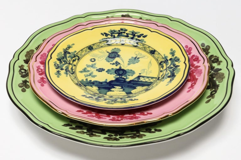 Contemporary Richard Ginori Oriente Italiano Azaelea Pink Vide Poche Squared Plate For Sale