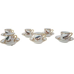 "Richard Ginori Porcelain ""Voliere"" Set of Six Coffee Cups, Italy, 2018"
