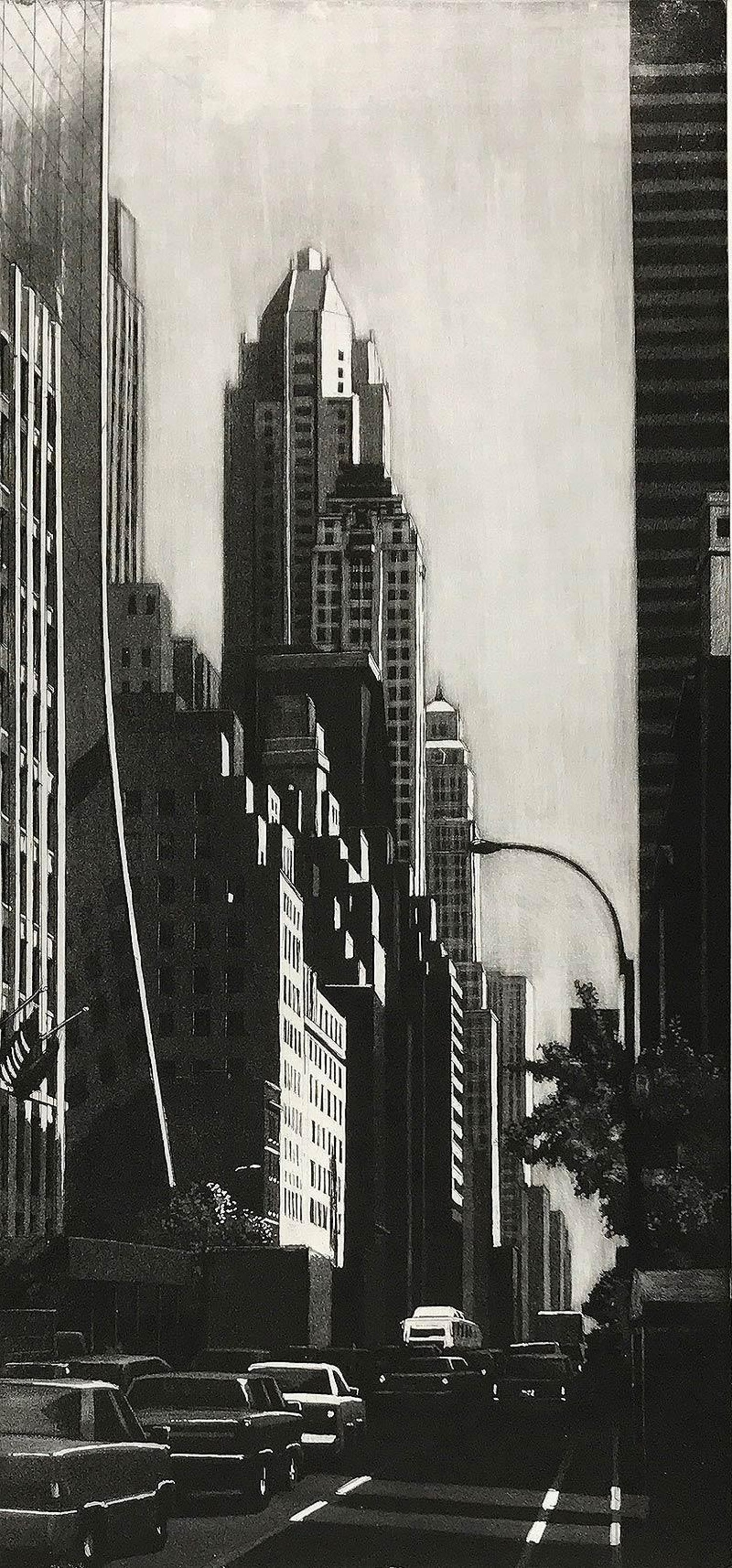57th St  Looking East (View down Sixth Ave/ Fuller BLDG, the Ritz and IBM  seen)