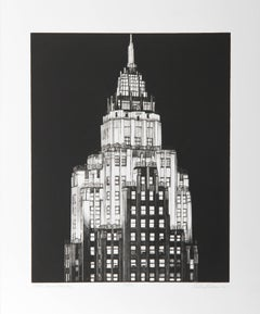 """""""Cities Services Building"""" B&W Etching by Richard Haas"""