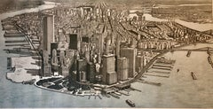 Trompe L'oeil Aquatint Etching Stunning Manhattan New York City View NYC Print