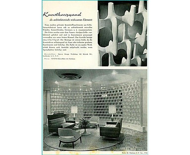Richard Harvey Sculpta-Grille Model C-20 Freestanding Room Divider, 1959   For Sale 11