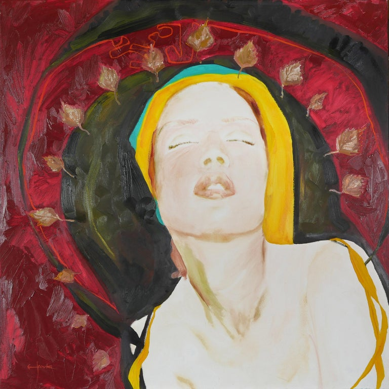 Fall - Colorful Female Figure - Painting by Richard Hawk