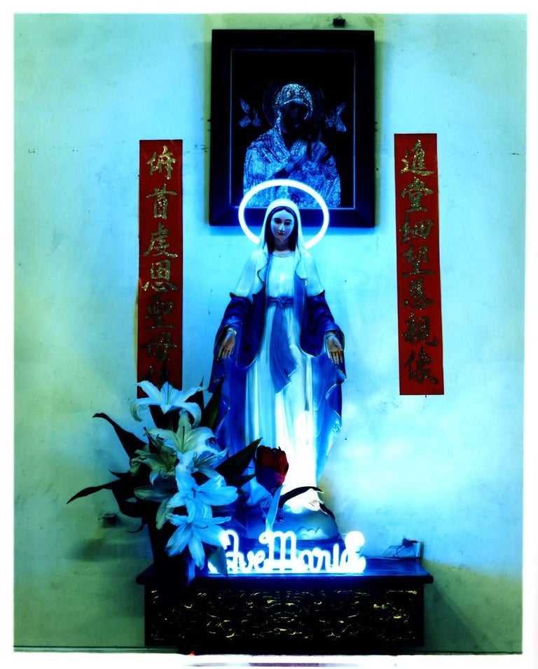 'Ave Maria', part of Richard Heeps' 'This is Not America' series photographed in Vietnam in 2016. This artwork has a fun kitsch vibe, the neon really makes it pop.  This artwork is a limited edition of 25, gloss photographic print, dry-mounted to