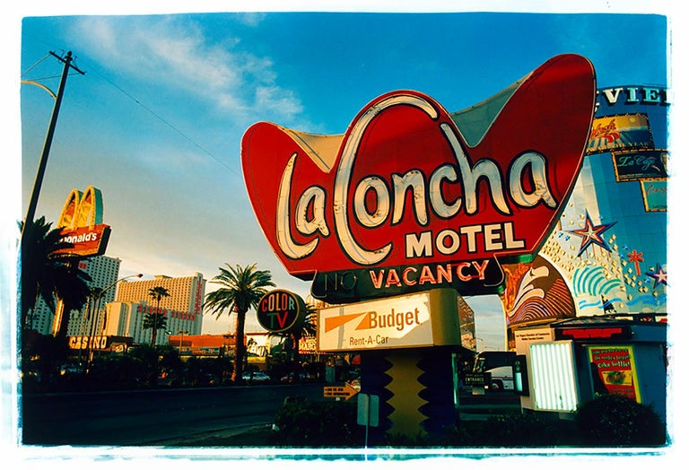 The iconic architecture of the La Concha Motel in Las Vegas, was captured by Richard Heeps for his 'Dream in Colour' series, before its closure in 2004. Designed by Paul Williams, it is synonymous of the Googie style architecture popular in America