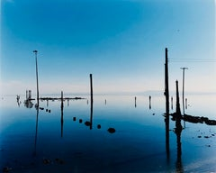 Marina, Bombay Beach, Salton Sea, California - Blue Waterscape Color Photography