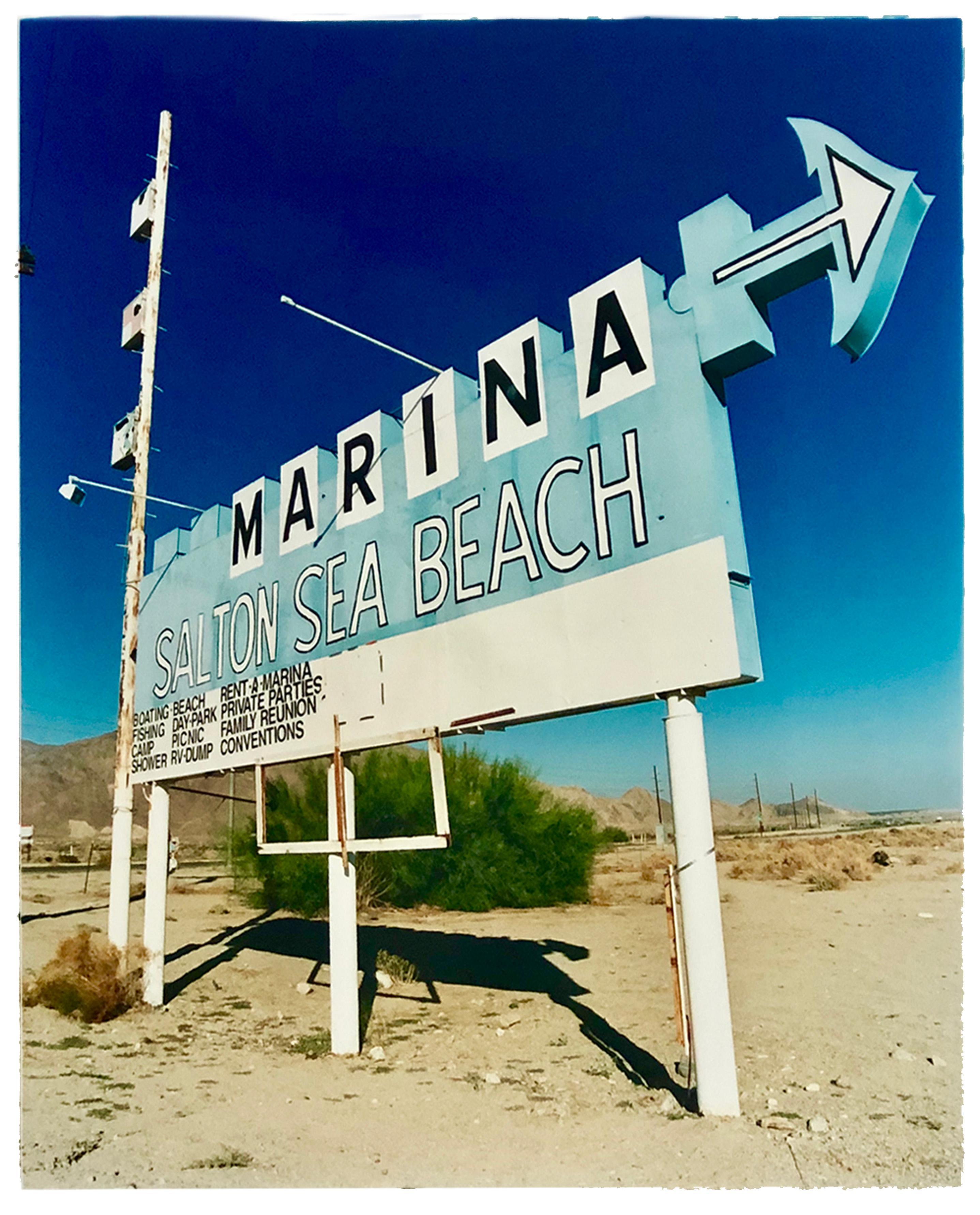 Marina Sign I, Salton Sea Beach, California - Roadside sign color photography
