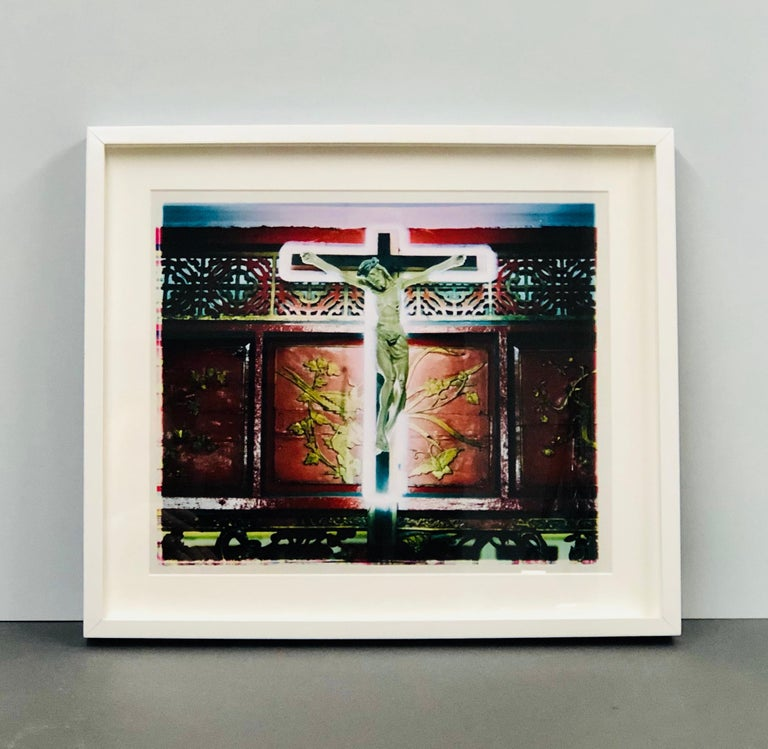 Neon Cross, Ho Chi Minh City (Saigon) - Religious kitsch color photography - Black Portrait Photograph by Richard Heeps