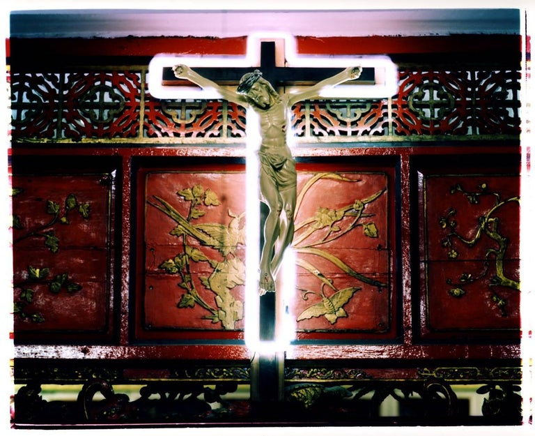 Richard Heeps Portrait Photograph - Neon Cross, Ho Chi Minh City (Saigon) - Religious kitsch color photography