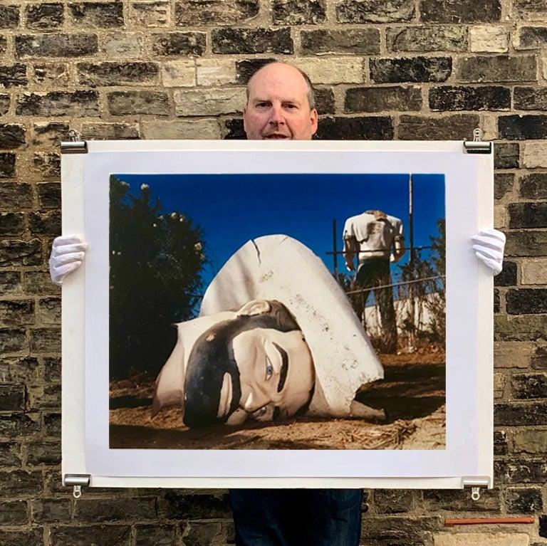 Poor Richard - Head & Torso, North Sore, Salton Sea, California - Color Photo - Black Portrait Photograph by Richard Heeps