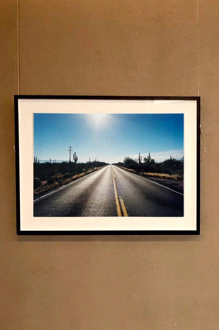 Road to Gunsight, Highway 86 Arizona - Landscape Color Photography - Black Portrait Photograph by Richard Heeps