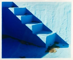 Steps, Zzyzx Resort Pool, Soda Dry Lake, California - Minimal Blue Photography